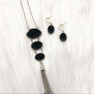Black Silver Druzy Pendant Necklace and Earrings